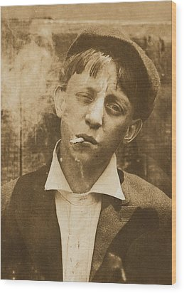 Portrait Of A Boy Smoking, Original Wood Print by Everett