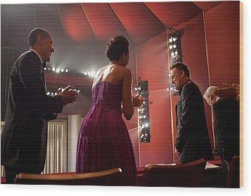 President And Michelle Obama Applaud Wood Print by Everett