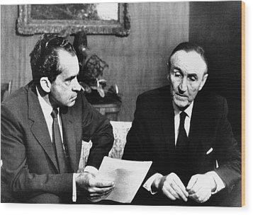 President Richard Nixon Meets Wood Print by Everett