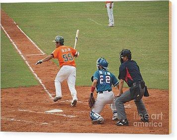 Professional Baseball Game In Taiwan Wood Print by Yali Shi