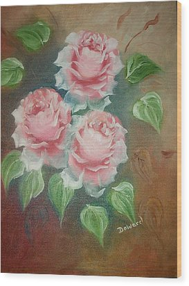 Wood Print featuring the mixed media Red Roses by Raymond Doward