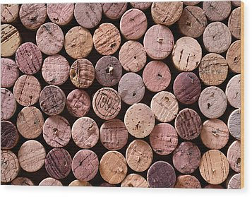 Red Wine Corks Wood Print by Frank Tschakert