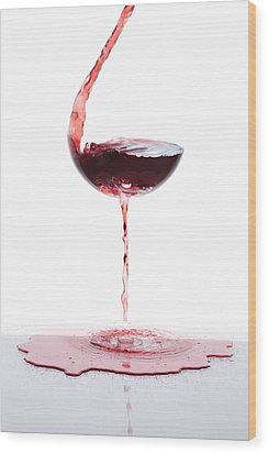 Red Wine Wood Print by Floriana Barbu