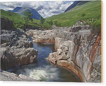 River Etive Wood Print by Fiona Messenger