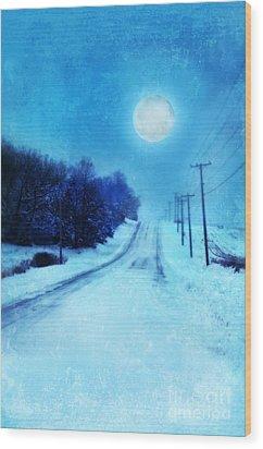 Rural Road In Winter Wood Print by Jill Battaglia