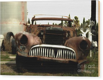 Rusty Old American Car . 7d10343 Wood Print by Wingsdomain Art and Photography