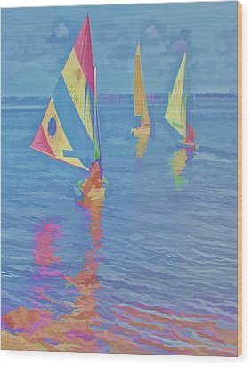 Sailing The Blue Wood Print