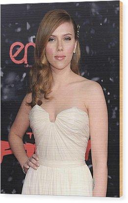 Scarlett Johansson At Arrivals Wood Print by Everett