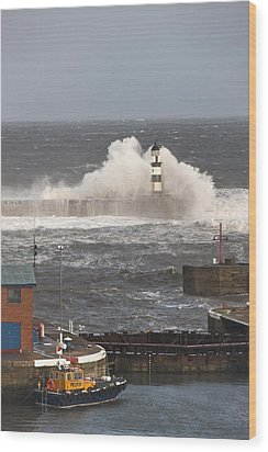 Seaham, Teesside, England Waves Wood Print by John Short