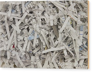 Shredded Paper Wood Print by Blink Images