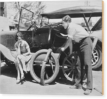 Silent Film: Automobiles Wood Print by Granger