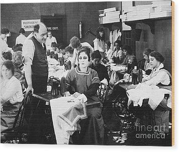 Silent Film Still: Sewing Wood Print by Granger