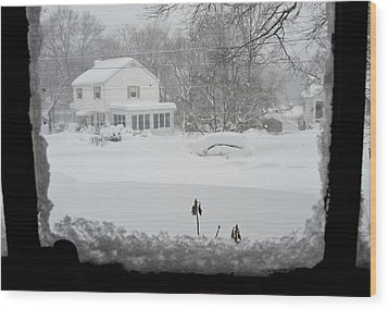 Snow Covers The Streets Wood Print by Stacy Gold