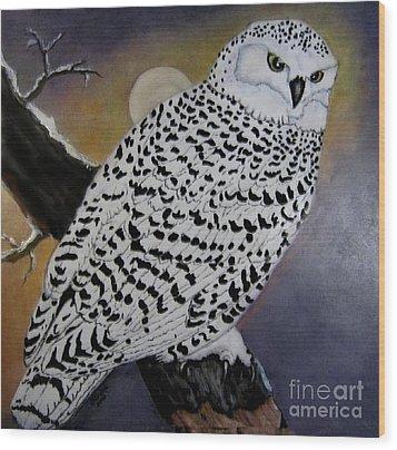 Snowy Owl And Moon Wood Print by Sandra Maddox