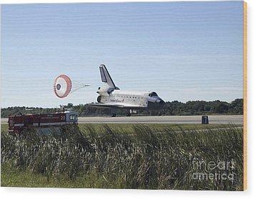 Space Shuttle Atlantis Unfurls Its Drag Wood Print by Stocktrek Images