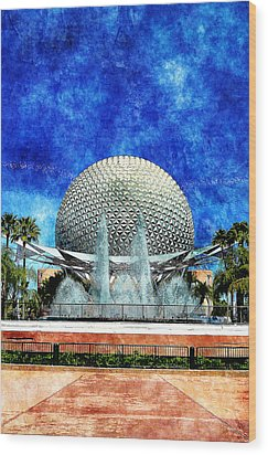 Wood Print featuring the digital art Spaceship Earth And Fountain Of Nations by Sandy MacGowan