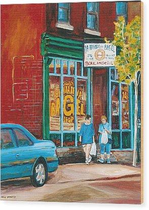 St. Viateur Bagel Shop Wood Print by Carole Spandau