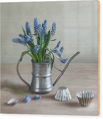 Still Life With Grape Hyacinths Wood Print by Nailia Schwarz