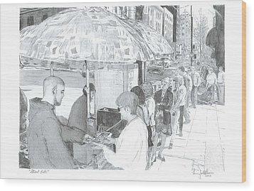 Street Eats Wood Print by Larry Oldham