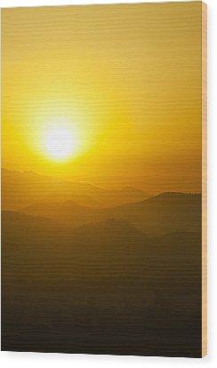 Sunset Behind Mountains Wood Print by U Schade