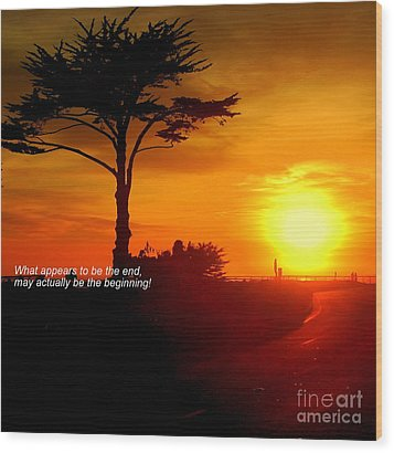 Sunset In Santa Cruz Wood Print by Garnett  Jaeger
