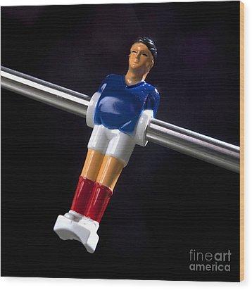 Tabletop Soccer Figurine Wood Print by Bernard Jaubert
