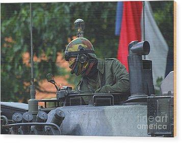 Tank Commander Of A Leopard 1a5 Mbt Wood Print by Luc De Jaeger
