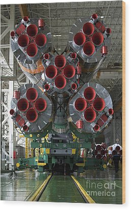 The Boosters Of The Soyuz Tma-14 Wood Print by Stocktrek Images