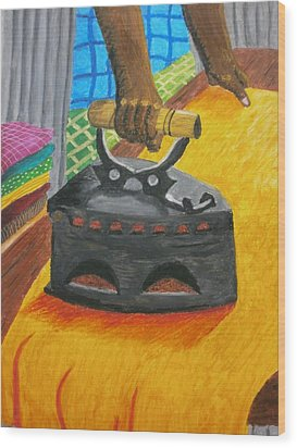 The Dhobi's Iron  Wood Print by Adam Wai Hou