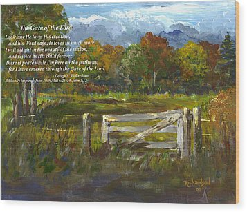 Wood Print featuring the painting The Gate Of The Lord With Poem by George Richardson
