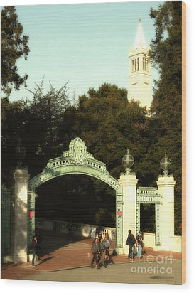 Uc Berkeley . Sproul Plaza . Sather Gate And Sather Tower Campanile . 7d10027 Wood Print by Wingsdomain Art and Photography