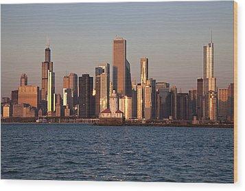 Usa, Illinois, Chicago, City Skyline Over Lake Michigan Wood Print by Henryk Sadura