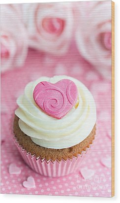 Valentine Cupcake Wood Print by Ruth Black