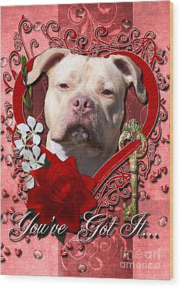 Valentines - Key To My Heart Pitbull Wood Print by Renae Laughner