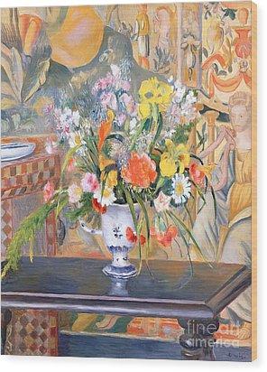 Vase Of Flowers Wood Print by Pierre Auguste Renoir