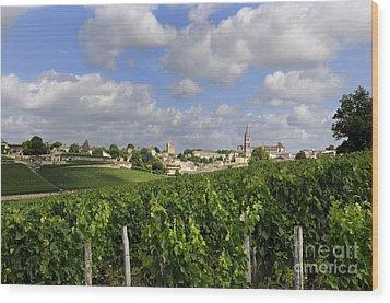 Village And Vineyard Of Saint-emilion. Gironde. France Wood Print by Bernard Jaubert