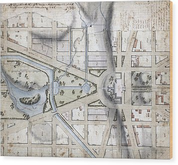 Washington, D.c. Map Showing Wood Print by Everett