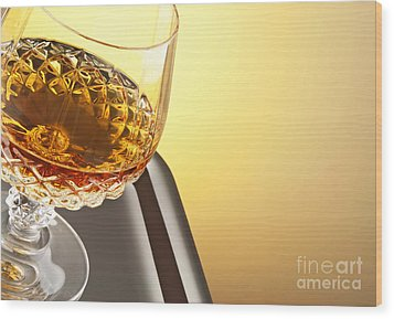 Whiskey In Stem Glass Wood Print by Blink Images