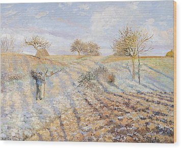White Frost Wood Print by Camille Pissarro