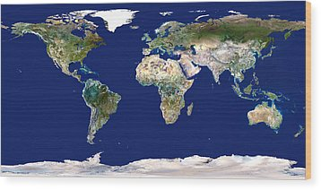 Whole Earth Map Wood Print by Planetobserver