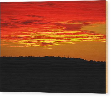 Winter Sunset In Texas Wood Print by Rebecca Cearley