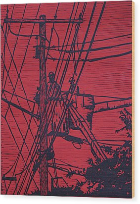 Working On Lines Wood Print by William Cauthern