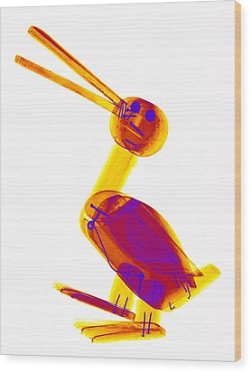 X-ray Of A Wooden Duck Toy Wood Print by Ted Kinsman