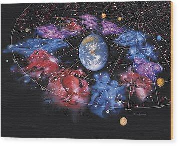 Zodiac Signs Wood Print by Detlev Van Ravenswaay
