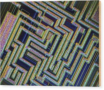 Microchip, Light Micrograph Wood Print by Pasieka