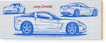 2009 C6 Corvette Blueprint Wood Print