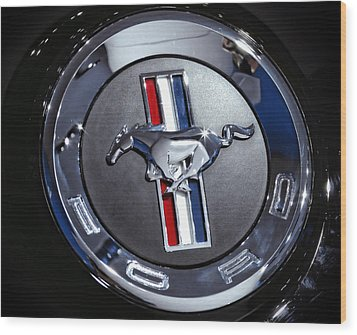 2012 Ford Mustang Trunk Emblem Wood Print