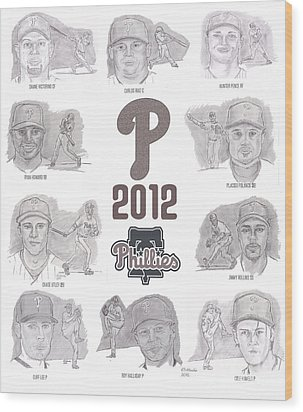 Wood Print featuring the drawing 2012 Phightin' Phils by Chris  DelVecchio
