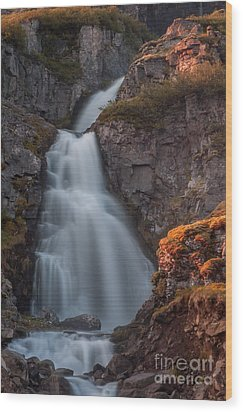 Waterfall Iceland Wood Print