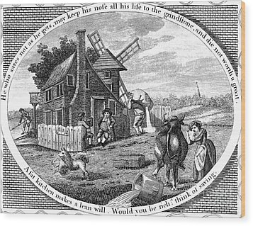 Poor Richard Illustrated Wood Print by Granger